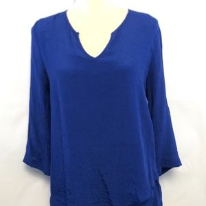 FEVER WOMEN ASYMMETRICAL TUNIC SIZE M/M ROYAL BLUE